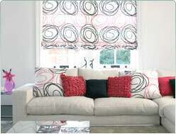 living room roman blinds
