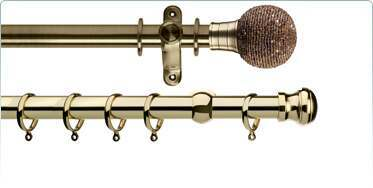 antique, bright brass and gold effect curtain poles