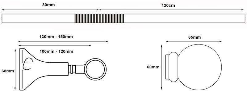 Dimensions for the Speedy Eyelet Bay Window Curtain Pole