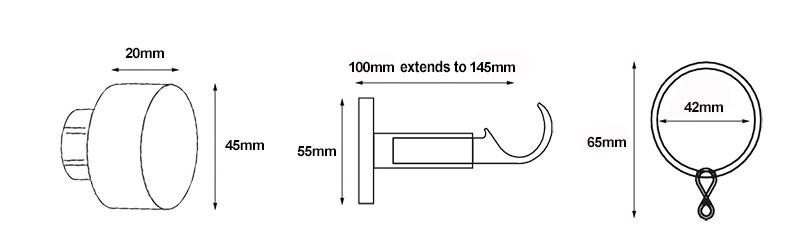 Speedy 35mm End Cap Curtain Pole Dimensions