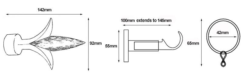 Speedy Fleur De Lys Curtain Pole Dimensions